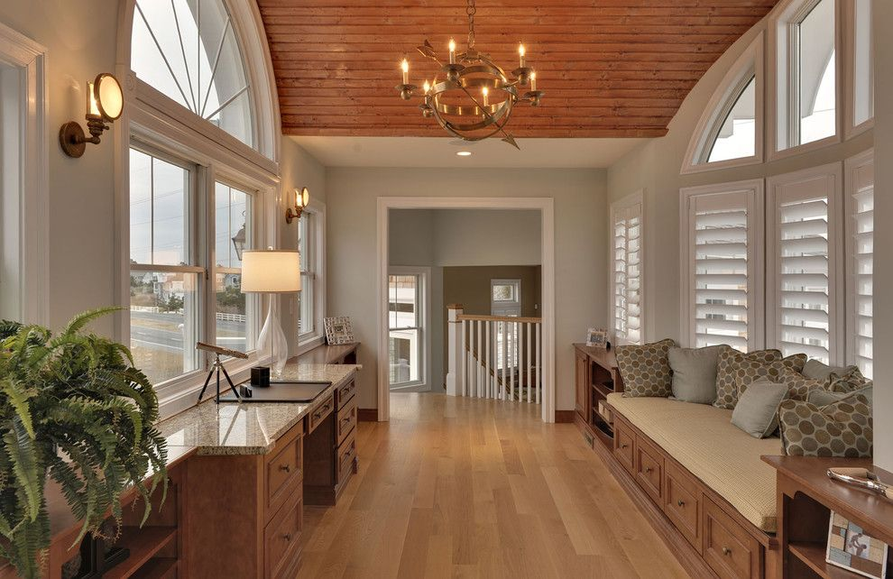 Sea Salt Sherwin Williams for a Beach Style Home Office with a Beach Style and Office by Echelon Custom Homes