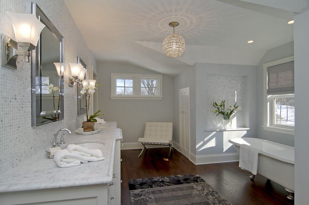 Sea Salt Sherwin Williams for a Contemporary Bathroom with a Barcelona Chair and Great Neighborhood Homes by Great Neighborhood Homes