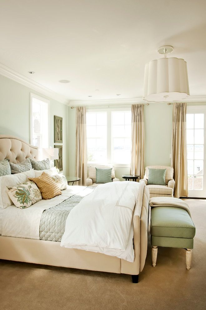 Sea Salt Sherwin Williams for a Traditional Bedroom with a Beige Carpet and Georgian   Parade of Homes 2012 by Cyndi Parker Interiors