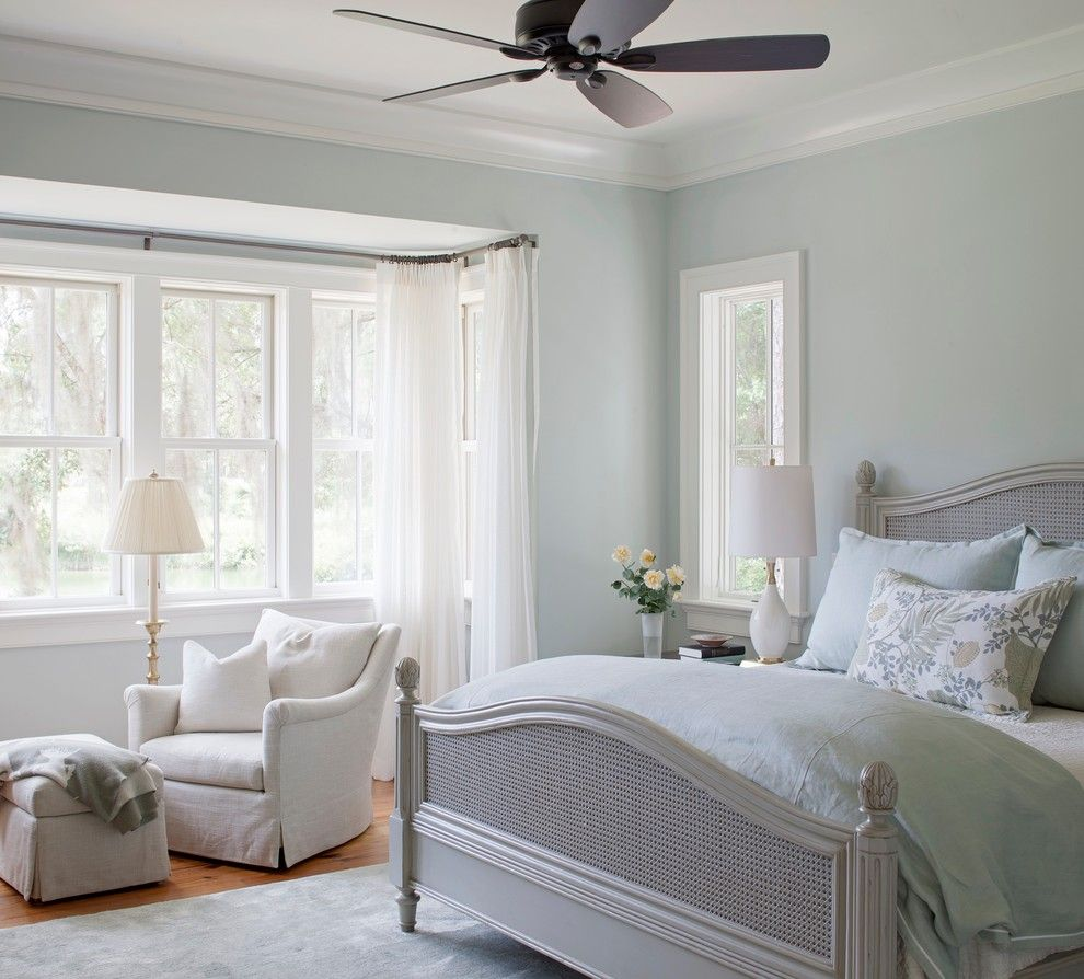 Sea Salt Sherwin Williams for a Traditional Bedroom with a Southern Style and Private Residence by Pearce Scott Architects