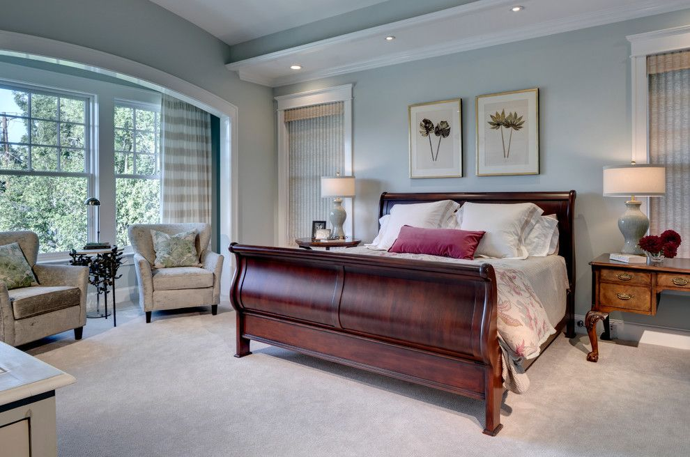 Sea Salt Sherwin Williams for a Traditional Bedroom with a Vaulted Ceiling and University by Domiteaux + Baggett Architects, Pllc