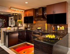 Senergy for a Eclectic Kitchen with a Area Rug and Glittering Heights by Teakwood Builders, Inc.