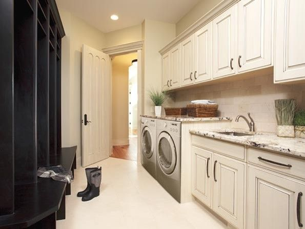 Sensa Granite for a Traditional Laundry Room with a Traditional and Storeage Examples by Gavin Rae / Legacy Kitchens