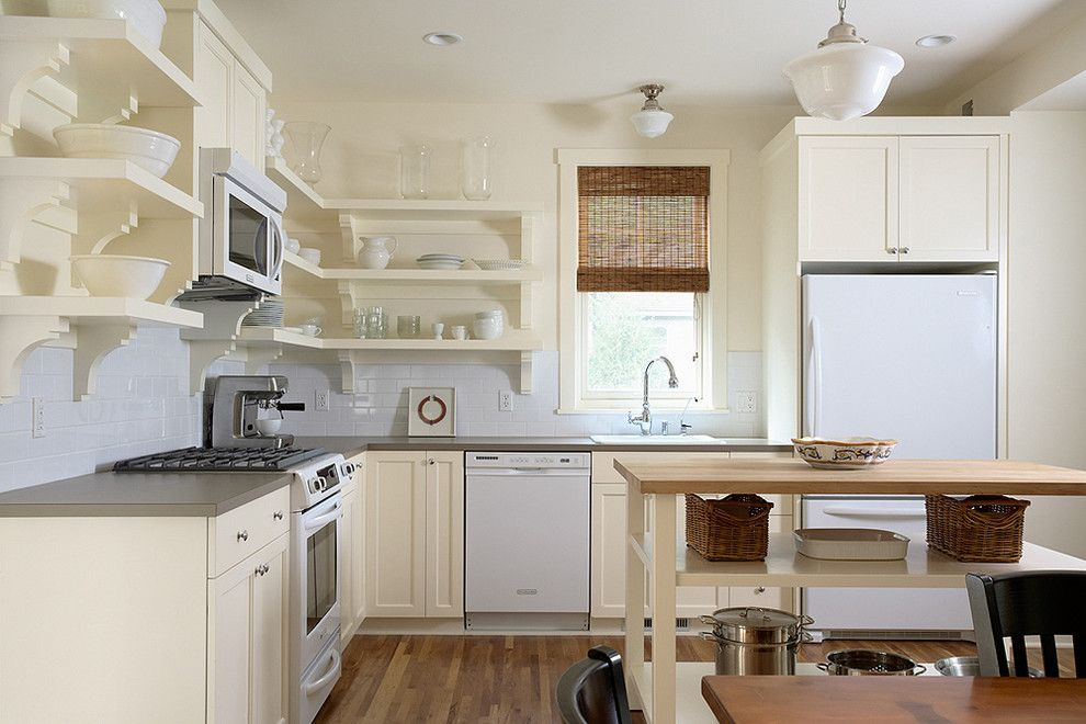 Sepulveda Building Materials for a Traditional Kitchen with a Subway Tiles and Quaint Painted Kitchen with Open Shelving by Erotas Building Corporation