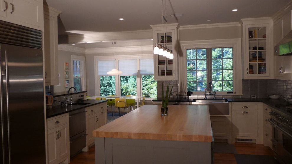 Sewell Appliance for a Transitional Kitchen with a Silver Tile Backsplash and Sewell St. 2 Newton by Sb Architects Inc.