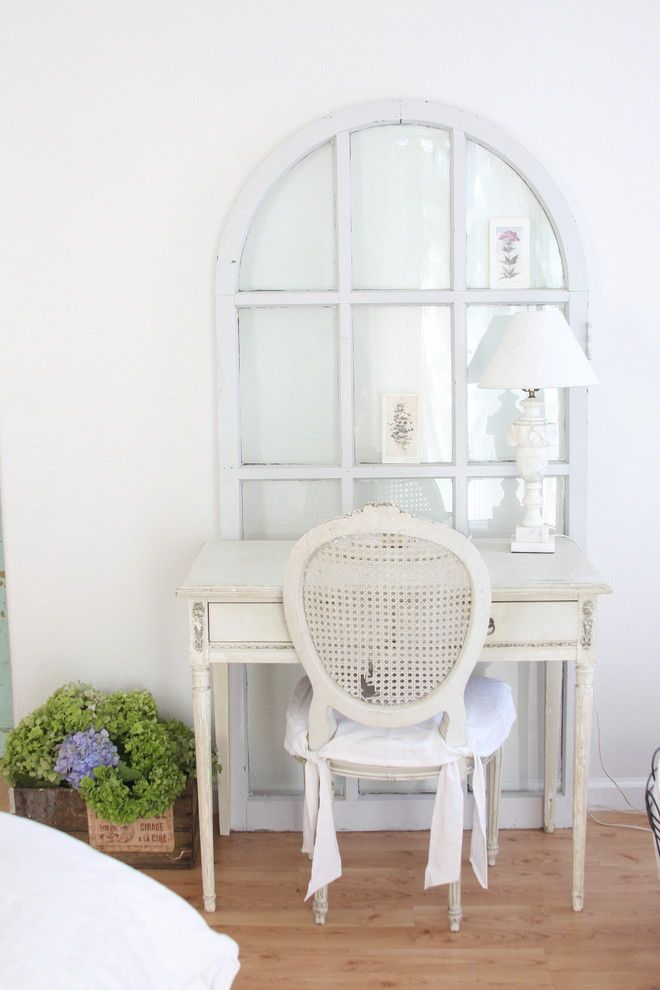 Shabby Sheek for a Shabby Chic Style Bedroom with a Bulletin Board and Http://dreamywhites.blogspot.com/ by Dreamy Whites