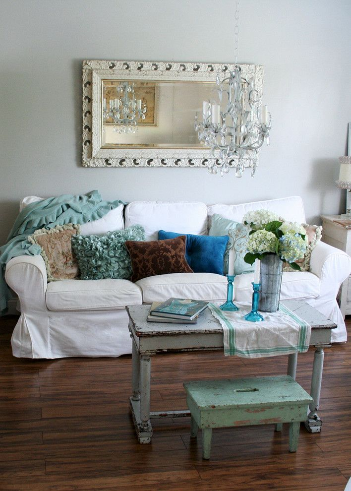 Shabby Sheek for a Shabby Chic Style Living Room with a Mirror and Home by Heather Kowalski