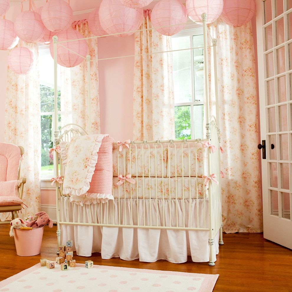 Shabby Sheek for a Shabby Chic Style Nursery with a Glider and a Baby Girl's Nursery   Elegant and Romantic Pink by Carousel Designs