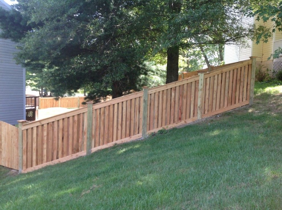 Shadow Box Fence for a Contemporary Landscape with a Cedar Fence and Cedar Shadow Box Fence by Green Spaces Landscaping