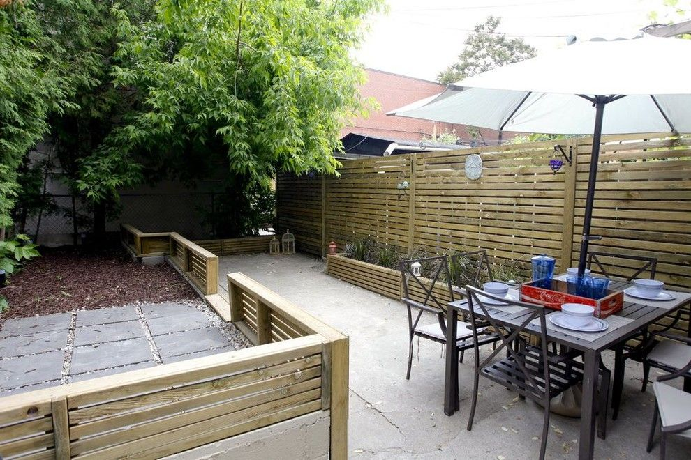 Shadow Box Fence for a Contemporary Patio with a Pressure Treated Wood Fence and My Home Renovation by Realty Queen Toronto