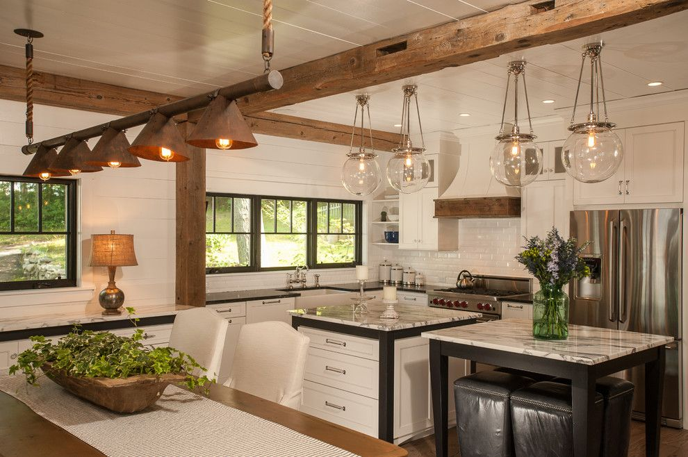 Shadow Box Fence for a Rustic Kitchen with a Black Stools and Lake George Retreat by Phinney Design Group
