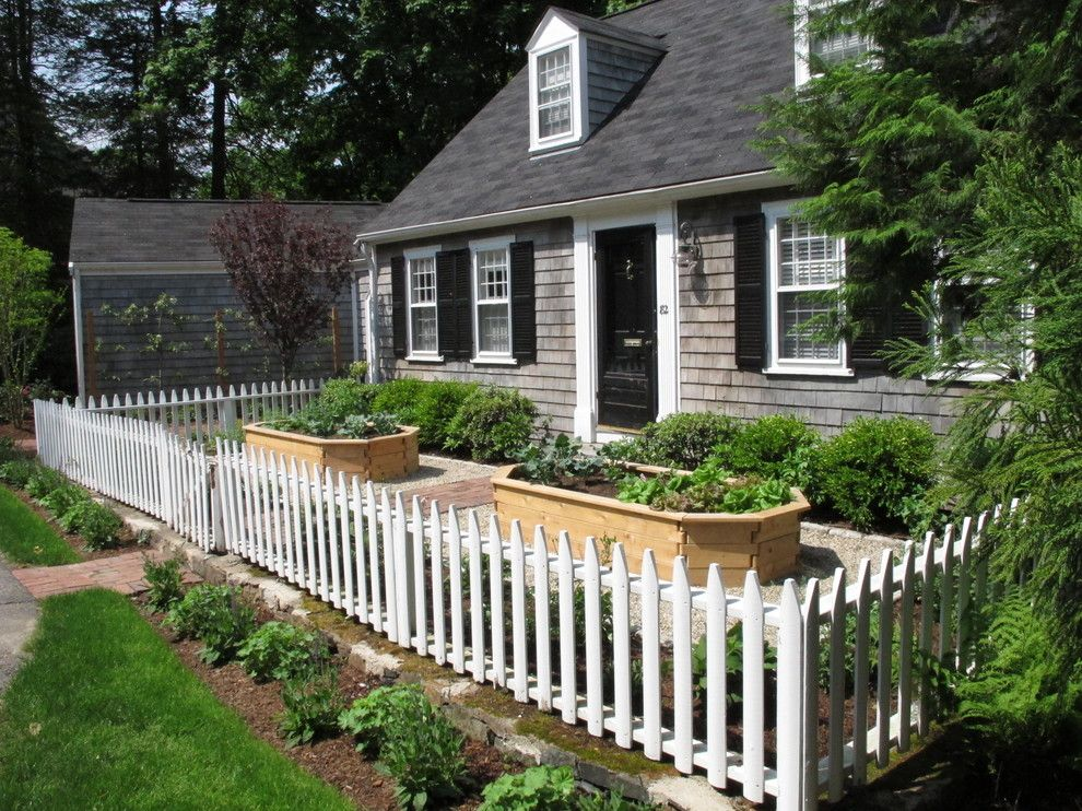 Shadow Box Fence for a Traditional Landscape with a Edible Garden and Wellesley Cottage Garden by Nilsen Landscape Design, Llc