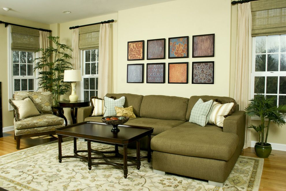 Shaker Beige for a Contemporary Living Room with a Curtains and Lovely Living Room by Angela Lavista