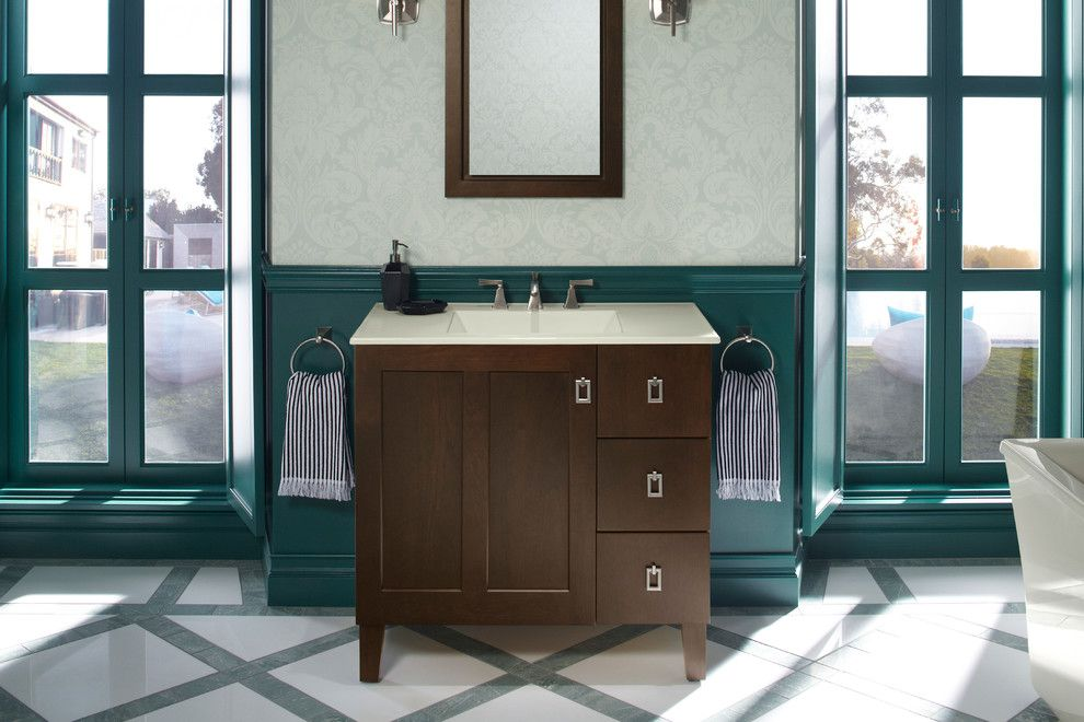 Shaker Beige for a Traditional Bathroom with a Contemporary and Kohler Bathroom Vanities by Capitol District Supply
