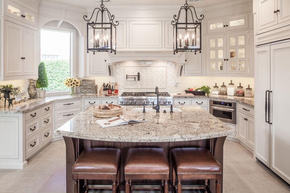 Shaker Beige for a Traditional Kitchen with a Leather Counter Stools and Kitchen Remodel   Cypress, Tx by Wamhoff Design | Build