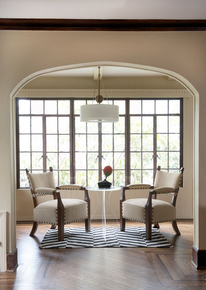 Shaker Beige for a Transitional Family Room with a Drum Shade Pendant Light and Ridgewood Avenue Family Home by DW Designs - Diana Weinstein Designs