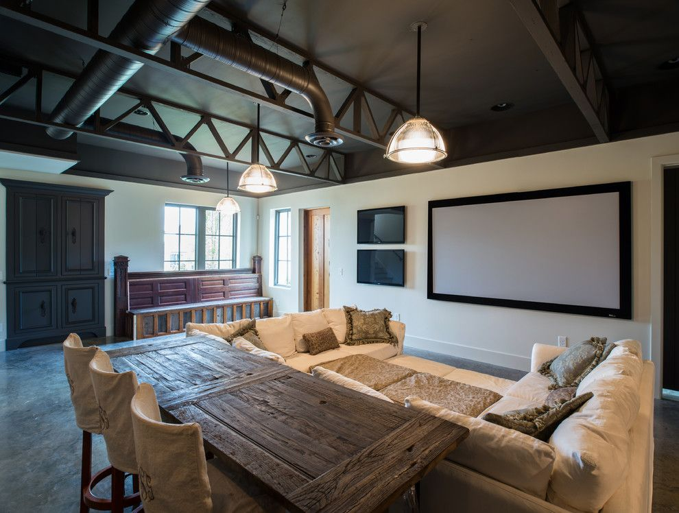 Shea Homes Az for a Contemporary Home Theater with a Beige Sectional and Sale Residence by P. Shea Design