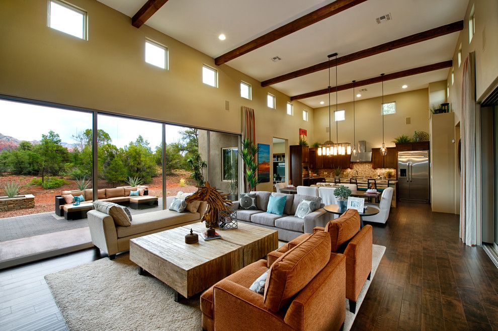 Shea Homes Az for a Transitional Family Room with a High Ceilings and the Enchantment: Rimstone in Sedona, Az by Dorn Homes