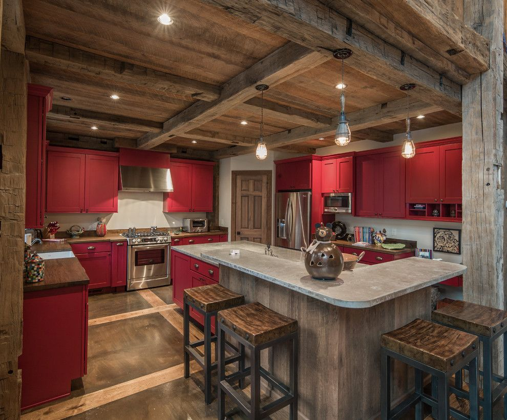 Shell Lumber for a Rustic Kitchen with a Pendant Lighting and Mountain Retreat by Vintage Lumber Sales