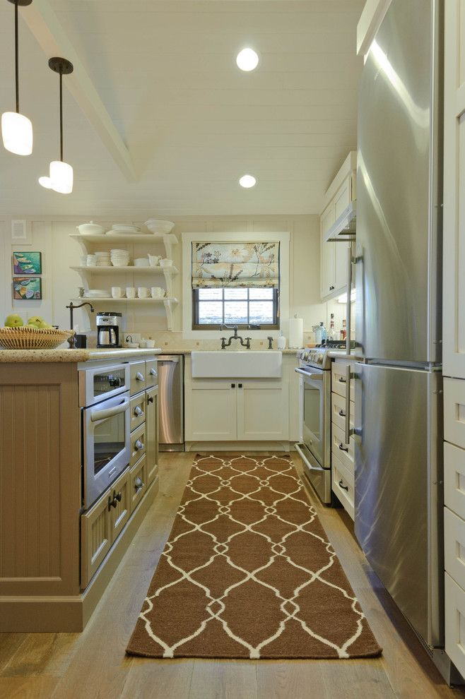 Sherwin Williams Alabaster for a Beach Style Kitchen with a Exposed Dishes and Carmadillo Kitchen|Dining by Regan Baker Design