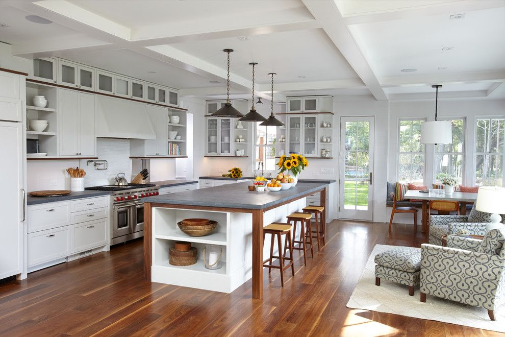 Sherwin Williams Alabaster for a Beach Style Kitchen with a Wood Bar Stools and Sag Harbor by Interiors Studio Martha's Vineyard