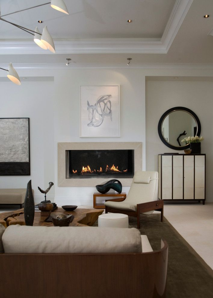 Sherwin Williams Alabaster for a Modern Living Room with a Modern Light Fixture and High Rise Residence by Peace Design