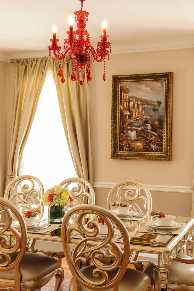 Sherwin Williams Alabaster for a Traditional Dining Room with a Rectangular Dining Table and Dining Room by Vi Design