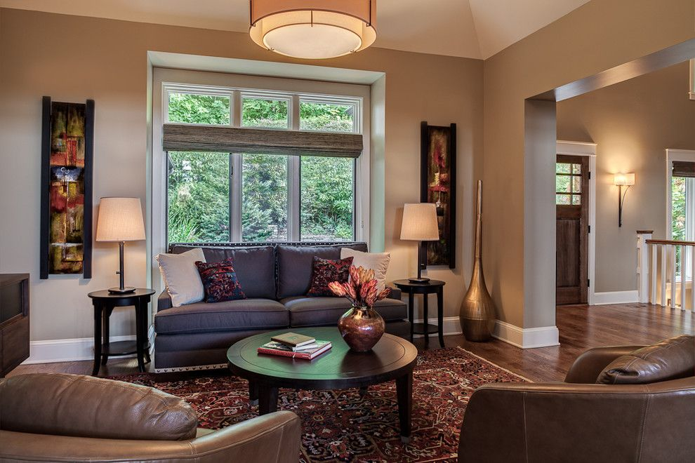 Sherwin Williams Alpaca for a Contemporary Living Room with a Traditional Area Rug and Elk Mountain Scenic Hwy by Allard & Roberts Interior Design, Inc