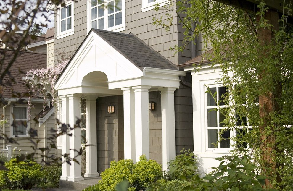 Sherwin Williams Alpaca for a Traditional Exterior with a White Wood and Shingle Exterior by Paul Moon Design