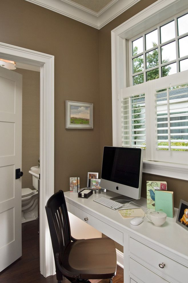Sherwin Williams Alpaca for a Traditional Home Office with a Built in Desk and Parade 2009 by Witt Construction
