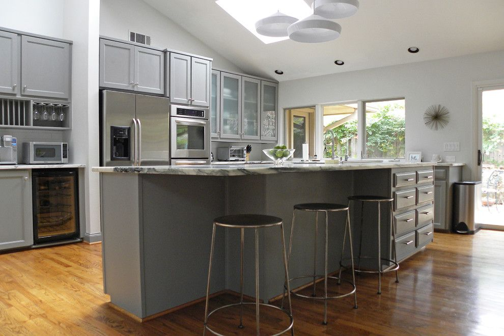 Sherwin Williams Amazing Gray for a Contemporary Kitchen with a Marble Counter Tops and Nomadic Vintage by Sarah Greenman