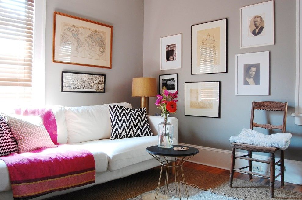 Sherwin Williams Amazing Gray for a Eclectic Family Room with a Gallery Wall and My Houzz: Asheville Home by Corynne Pless