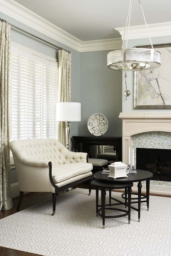 Sherwin Williams Amazing Gray for a Transitional Living Room with a Plourde and City: Ferrell Residence by Linda Mcdougald Design | Postcard From Paris Home