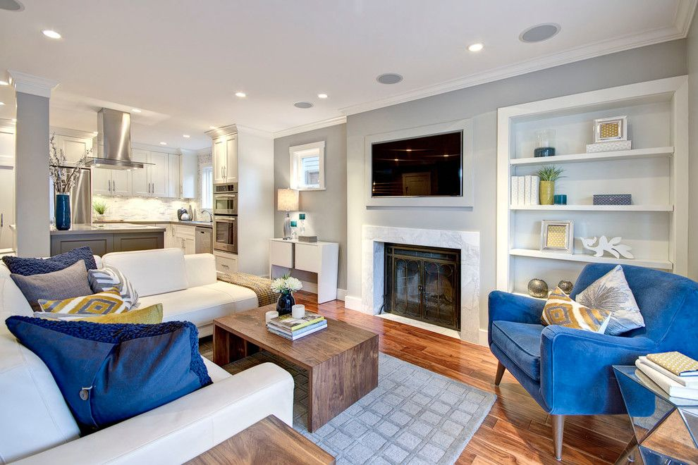 Sherwin Williams Anew Gray for a Contemporary Living Room with a Fireplace and West 8th Ave   Design Project by Flow Home Staging & Design
