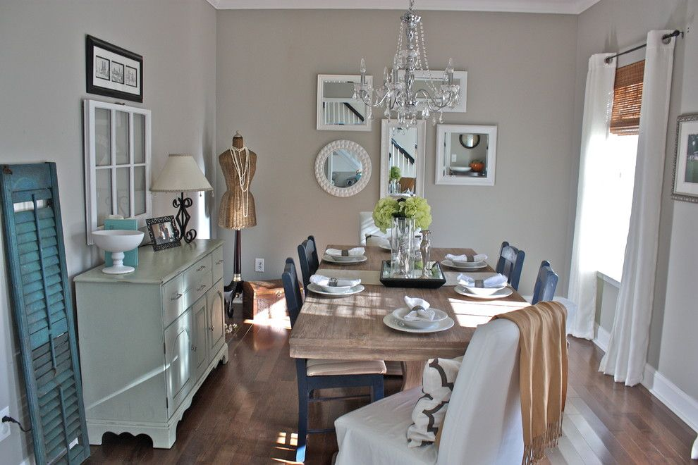 Sherwin Williams Anew Gray for a Shabby Chic Style Dining Room with a Mirror Collage and Cottage Chic by Ally Whalen Design