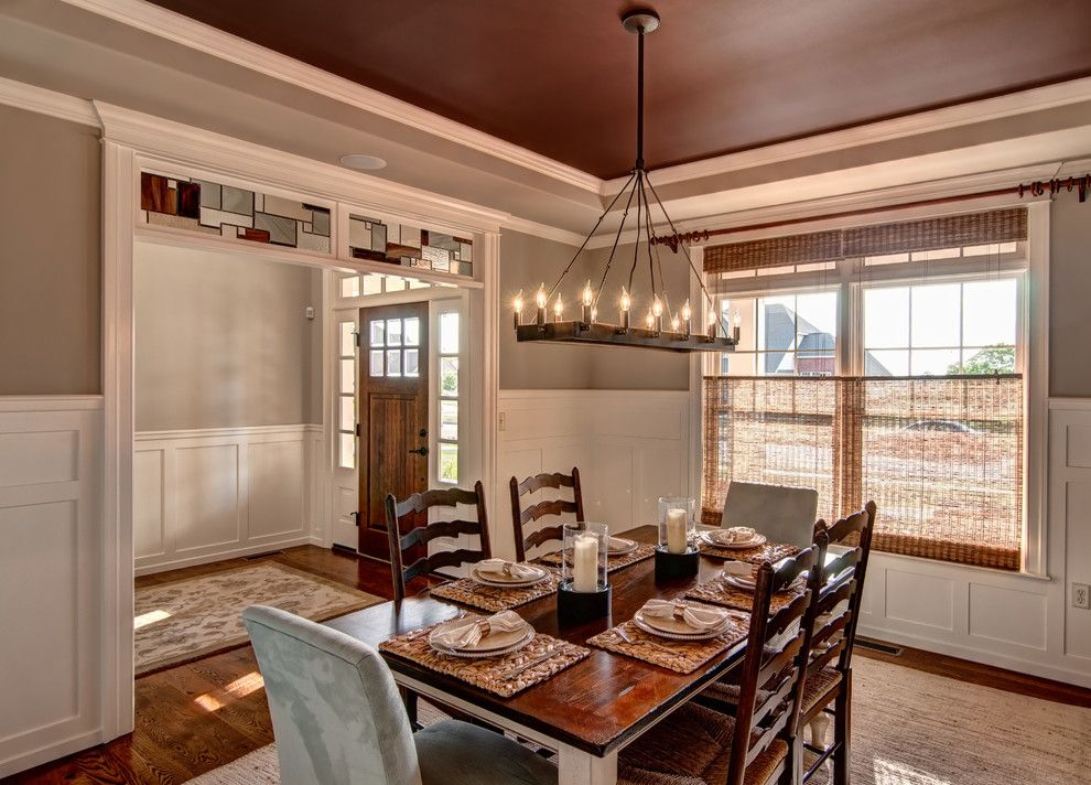 Sherwin Williams Anew Gray for a Traditional Dining Room with a Tray Ceiling and Meadowview Model 2013 by Farinelli Construction Inc