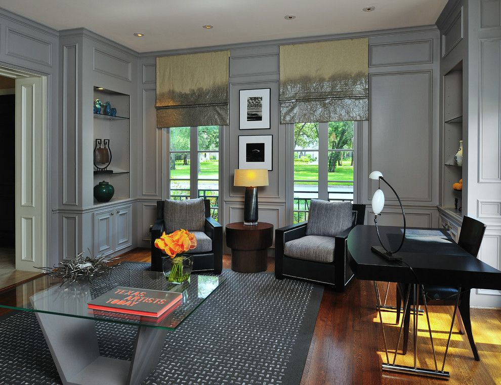 Sherwin Williams Anew Gray for a Victorian Home Office with a Grey Walls and Modern Residential Project by Wendt Design Group