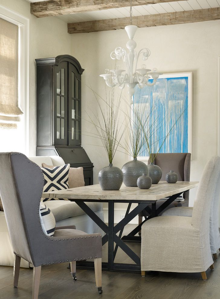 Sherwin Williams Deckscapes for a Beach Style Dining Room with a Nailhead Detail and Kiawah Island by Beth Webb Interiors