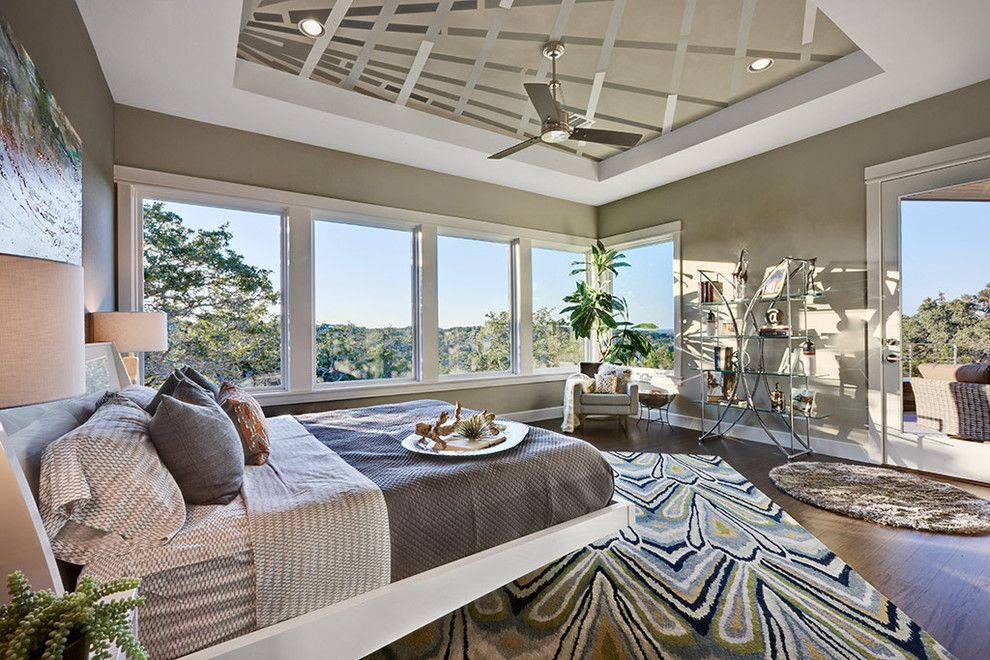 Sherwin Williams Deckscapes for a Contemporary Bedroom with a Corner Window and 2012 Parade of Homes by Austin Design Group