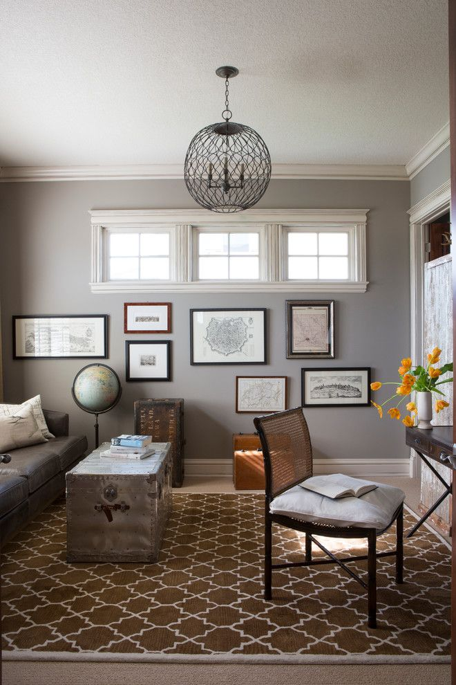 Sherwin Williams Dorian Gray for a Contemporary Home Office with a Brown Rug and Prairie Trail Home   Ankeny, Ia by R. Cartwright Design