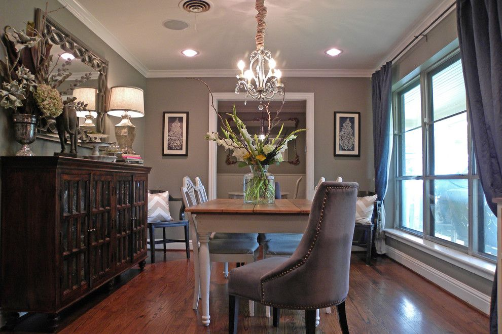 Sherwin Williams Dorian Gray for a Traditional Dining Room with a Wood and Dallas, Tx: James and Lynsey Purl by Sarah Greenman