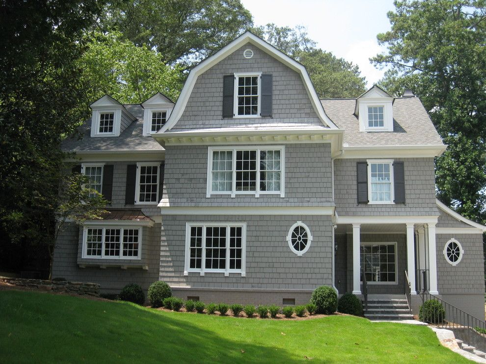 Sherwin Williams Dorian Gray for a Traditional Exterior with a Window Shutters and Chastain Park by Hask Custom Homes