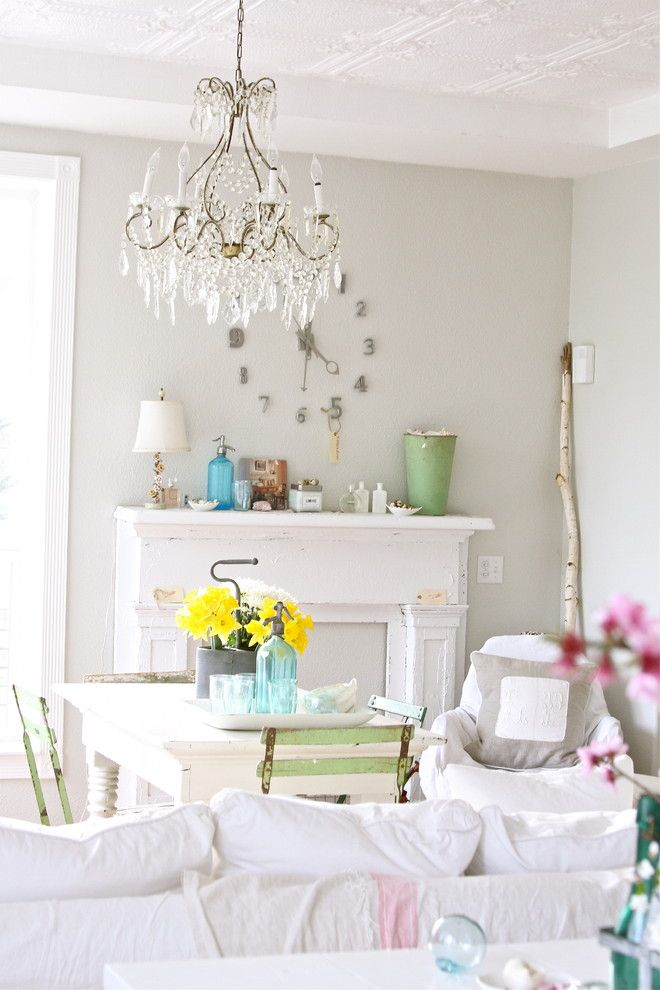 Sherwin Williams Dover White for a Shabby Chic Style Dining Room with a Bottle and Http://dreamywhites.blogspot.com/ by Dreamy Whites