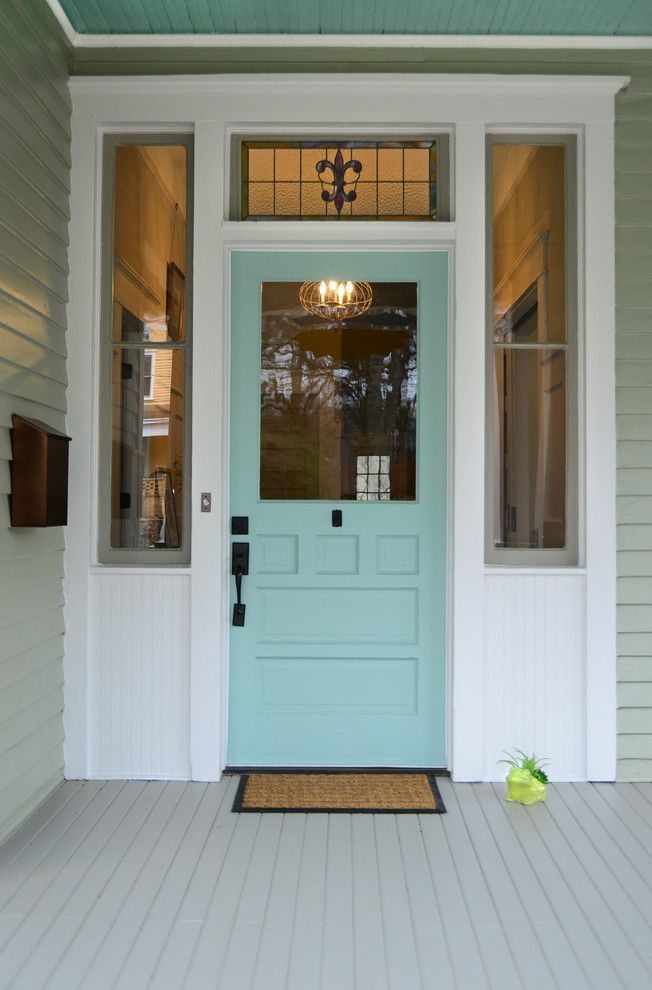Sherwin Williams Dover White for a Victorian Entry with a Gray Deck and Queen Anne Bungalow Resurrection by Carl Mattison Design