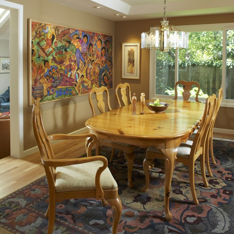Sherwin Williams Dovetail for a Traditional Dining Room with a Chandelier and Dining Room by Harrell Remodeling