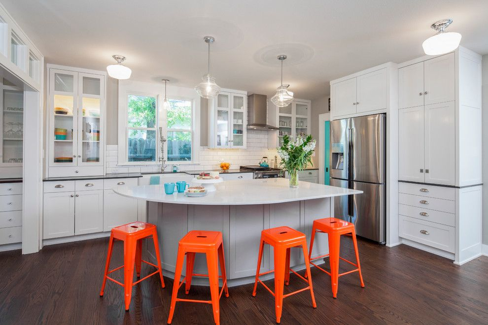 Sherwin Williams Dovetail for a Transitional Kitchen with a Orange Bar Stools and Craftsman Revived by Cg&s Design Build