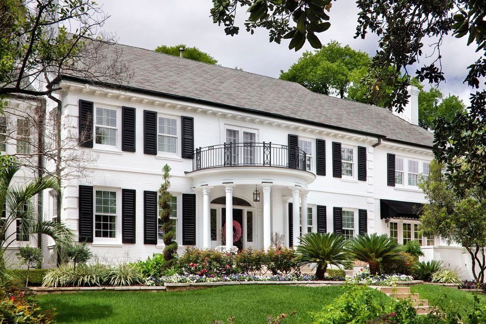Sherwin Williams Exterior Paint Colors for a Traditional Exterior with a Black Awning and Windsor Road Residence   Austin, Tx by Martha O'hara Interiors