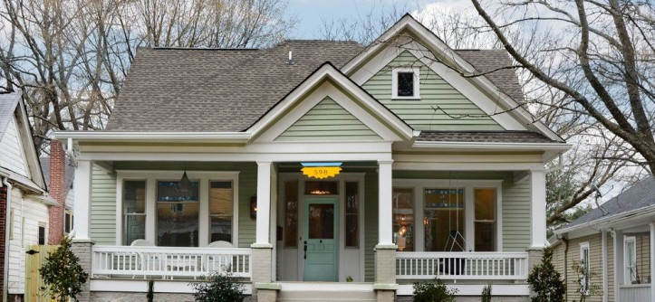 Sherwin Williams Exterior Paint Colors for a Traditional Exterior with a Front Door and Queen Anne Bungalow Resurrection by Carl Mattison Design