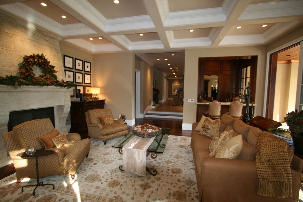 Sherwin Williams Kilim Beige for a Traditional Living Room with a Oriental Rug and Atherton Holiday House Tour by Houzz.com