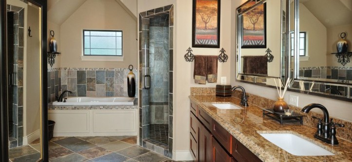 Sherwin Williams Kilim Beige for a Transitional Bathroom with a Tub and Houston Home by Vining Design Associates